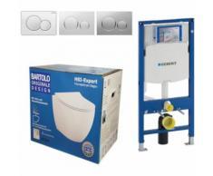 Geberit Vorwandelement UP320 + Bartolo WC + Drückerplatte + WC-Sitz Sigma20 weiß/chrom/weiß Slim