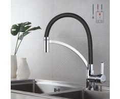 Auralum Küchenmischbatterien Niederdruckhahn Schwarz Spiralfederarmatur 360 ° schwenkbar Wasserhahn