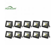 10×30W LED Außenstrahler Fluter Flutlichtstrahler, 6000K Kaltweiß 2700 Lumen 230V IP65 Wasserdicht,