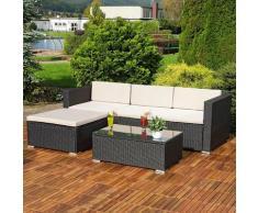 Mucola - Lounge Gartengarnitur Sofa Tisch Kissen schwarz Polyrattan Gartenmöbel