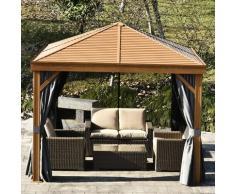 Outsunny® Pavillon Partyzelt Festzelt Gartenlaube mit Seitenwände Stahldach Aluminium Grau