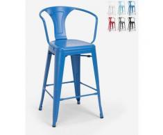 Hocker mit Metallrückenlehne Industriedesign für Bar und Küche im Tolix-Stil Steel Back | Blau