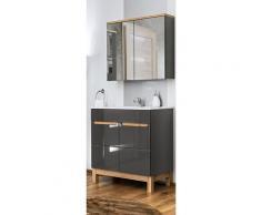 Badezimmer Möbel Set 4-teilig mit 80 cm Keramik Waschbecken SOLNA-56 Hochglanz grau inkl.