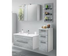Badezimmmöbel Set mit 100cm Waschtisch und LED-Spiegelschrank LAGOS-02 (4-teilig) Beton Nb., B x H
