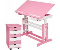 Kinderschreibtisch und Rollcontainer - Computertisch, Bürotisch - rosa