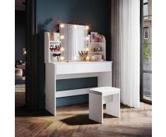 Schminktisch mit Spiegel und Hocker Weiß,108 cm breit mit Led Spiegelleuchte - Weiß - Sunxury