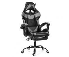 Bürostuhl Gaming Gamer Stuhl ohne Fußstütze Grau Hasaki