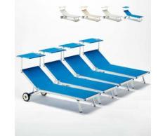 4 Sonnenliegen Strandliegen aus Aluminium mit Rollen für Garten Swimmingpool ALABAMA   Blau