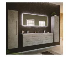 Lomadox - Badmöbel Set Beton Optik grau NEWLAND-02 Doppel-Waschtisch, LED-Spiegel, 2 Hochschränke,