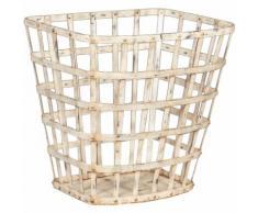 Korb, Korb, Wäschekorb, Schmiedeeisenbehälter mit antikweißer Oberfläche