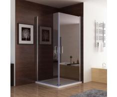 Duschkabine Dusche Duschwand 180° Schwingtür Eckig NANO Glas 90 x 75 x 195cm ESG
