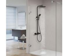 Auralum Dusche mit Thermostat Höhenverstellbar schwarz Duschsystem inklusive Handbrause Kopfbrause