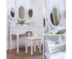 Schminktisch Spiegeltisch Spiegel inkl. Sitzbank im Barockstil Weiß #36 Creme