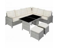 Rattan Lounge Barletta - Loungemöbel, Gartenmöbel, Gartengarnitur - hellgrau