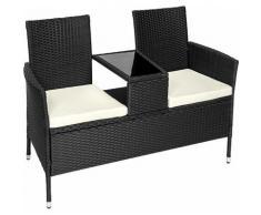 Rattan Gartensitzbank mit Tisch - Gartenbank, Sitzbank, Holzbank - schwarz