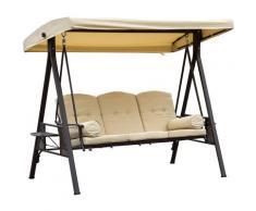 Outsunny® Hollywoodschaukel 3-Sitzer Gartenschaukel mit Sonnendach + Kissen Beige - beige/braun