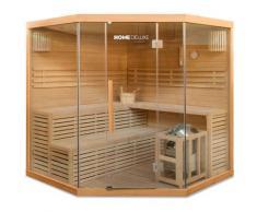 Home Deluxe - Traditionelle Sauna Skyline XL BIG | Eckkabine, Ecksauna, Saunakabine inkl. Saunaofen