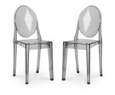 Pack von 2 Victoria Stühle Grau transparent