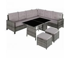 Rattan Lounge Barletta, Variante 2 - Loungemöbel, Gartenmöbel, Gartengarnitur - grau