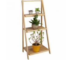 Relaxdays Blumentreppe innen, 3 Stufen, Bambus, klappbar, Leiterregal, Pflanzenregal, H x B x T 99