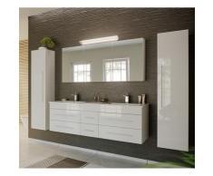 Lomadox - Badmöbel Komplett Set weiß Hochglanz NEWLAND-02 153cm Waschtisch, LED-Spiegelschrank, 2