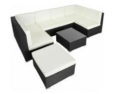 Rattan Lounge Venedig - Gartenlounge, Terrassenmöbel, Rattan Lounge - schwarz
