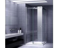 Duschkabine Eckeinstieg Duschabtrennung mit Schiebetüren NANO-ESG Klarglas Höhe: 200cm DK88 100x100