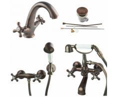Retro Armaturen Aufputz Waschtisch Duscharmatur Wannenarmatur braun