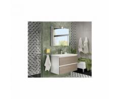 Badezimmer Badmöbel 80 cm Moon aus Rauch Eiche Holz mit Waschtisch Spiegel und Lampe led | mit