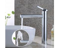 Wasserhahn Bad hoch 360° drehbar Waschtischarmatur Mischbatterie Waschtisch Armatur für Bad, Chrom