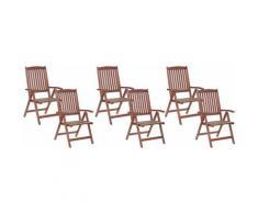 Beliani - Gartenstuhl 6er Set Dunkelbraun Akazienholz verstellbar klappbar Rutikal Landhaus Stil