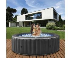 BERGEN Outdoor Whirlpool aufblasbar 4 Personen NEU 2021 Garten Pool Heizung (Anthrazit ) - Mspa