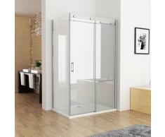 Duschkabine 120 x 76 cm Eckig Dusche Schiebetür Duschwand mit 8mm NANO ESG Glas 195