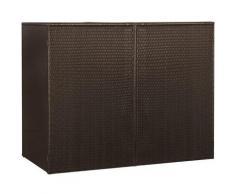 Mülltonnenbox für 2 Tonnen Braun 153 x 78 x 120 cm Poly Rattan VD45635 - Hommoo