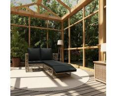 2-tlg. Garten-Lounge-Set mit Auflagen Poly Rattan Grau - Youthup
