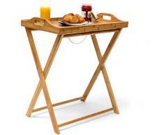 Tabletttisch Bambus HxBxT: ca. 63,5 x 55 x 35 cm Beistelltisch mit Tablett für Frühstück und mehr