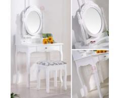 Schminktisch Spiegeltisch Spiegel inkl. Sitzbank im Barockstil Weiß #35