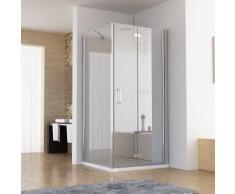 120 x 80 x 197 cm Duschkabine Eckeinstieg Dusche Falttür Duschwand mit Duschtasse Duschwanne