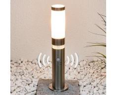 Edelstahl-Sockelleuchte Binka mit Sensor