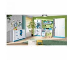 Kinderzimmer Set C Frank, 6-teilig, Farbe: Weiß / Blau