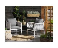 Beliani - Gartenstuhl 2er Set Weiß Aluminium mit Auflagen in Grau Seil Look Scandi Stil