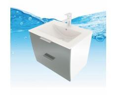 Trendbad24 Gmbh&co.kg - Waschtisch Waschbecken Gently 2 WT Weiß/Grau Badezimmermöbel Badmöbel Set