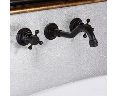 Lookshop ® - Wand-Waschtischarmatur im Retro-Stil in antikem Schwarz