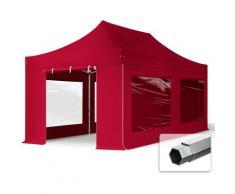 Faltzelt PROFESSIONAL 3x6 m mit Panoramafenster Faltpavillon ALU Pavillon Partyzelt in rot