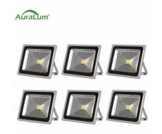 6×50W LED Außenstrahler Fluter Flutlichtstrahler, 3000K Warmweiß 4500 Lumen 230V IP65 Wasserdicht,