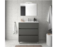 Badezimmer Badmöbel auf dem boden 80 cm in mattgrauem Holz mit porzellan Waschtisch | mit spiegel