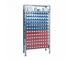 Steckregal H2000xB1000xT400mm Grundregal 12 Stahlböden 60 x 3 blau,60 x 3 rot