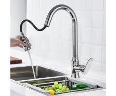 WOOHSE Elegant Einhebelmischer Küchenarmatur mit herausziehbarer Brause Mischbatterie