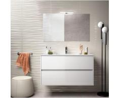 Badezimmer Badmöbel 100 cm aus glänzend weiß lackiertem Holz mit Porzellan Waschtisch | mit spiegel