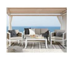 Beliani - Lounge Set Braun Weiß Aluminium Sicherheitsglas inkl. Kissen 5-Sitzer Terrasse Outdoor